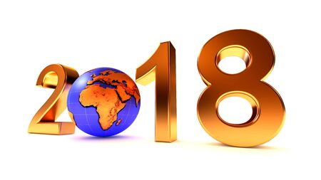 New Year 2018 Earth Africa planet on the white background. 3d illustration. Stock Photo