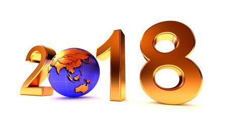 Year 2018 Earth gobe on the white - 3d illustration. Asia, Australia, Japan