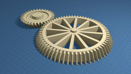 Blueprints and gears Stock Photo