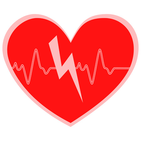 heart cheering cardiogram heart attack vector icon isolated on white