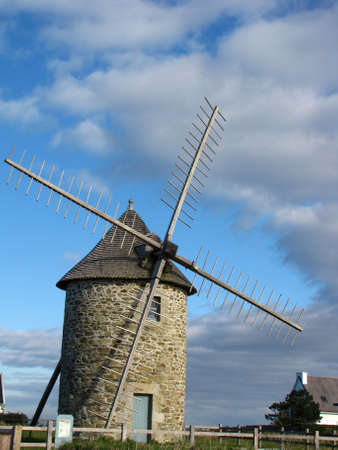 old and stone windmill Stock Photo
