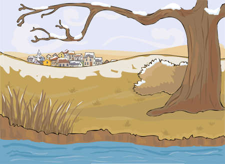 village between autumn season and winter Vector