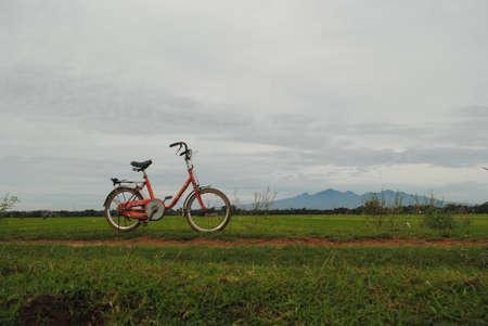 fiets op het dijkpad Stockfoto