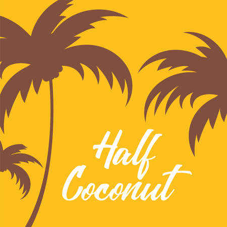 Sunset - tropical background illustration with coconut tree silhouette