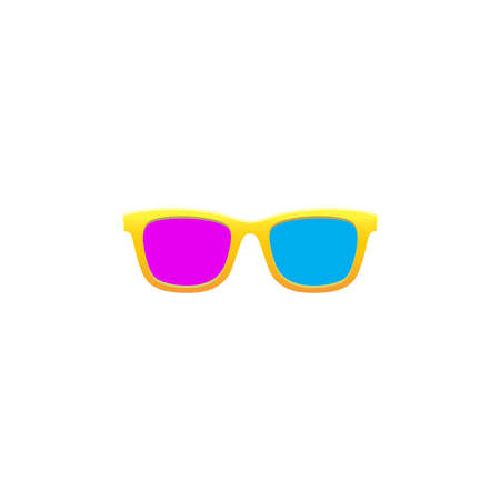 Funny and colorful 3d sunglasses with red and pink color Stockfoto