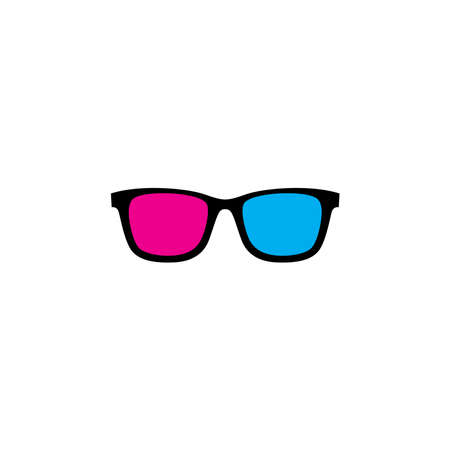 Funny and colorful 3d sunglasses with red and pink color Zdjęcie Seryjne
