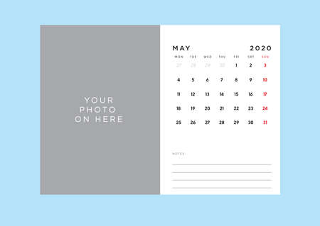 Monthly Desk Calendar with photo place holder and notes space. Weekday start from Monday. Changeable font