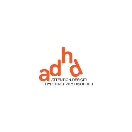 ADHD Attention Deficit Hyperactivity Disorder. Medical Icon Product Label And Logo Graphic Template. Isolated Vector Illustration