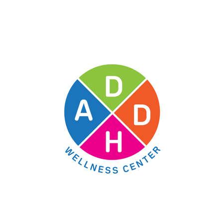 ADHD Centro Benessere Logo vettoriale. Sindrome da deficit di attenzione e iperattività. Logo