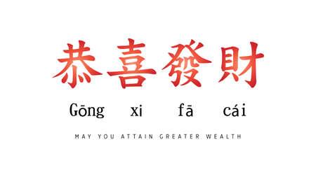 Gong xi fa cai, Joyeux nouvel an chinois 2020 avec calligraphie chinoise. En traduction littérale anglaise : puisses-tu atteindre une plus grande richesse. Couleur rouge et noir