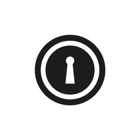 Key Hole Vector Flat Icon in black and white. vector icon Ilustração