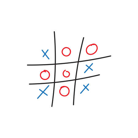 Tic Tac Toe Game in doodle style. vector illustration