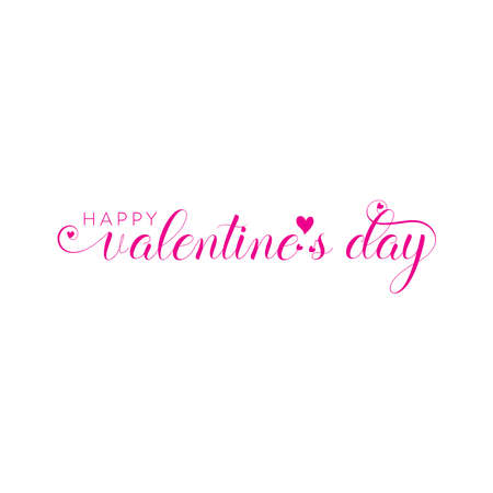 Valentines day background with heart pattern and typography of happy valentines day text . Vector illustration. Wallpaper, invitation, posters, brochure, banners. pink color Illustration