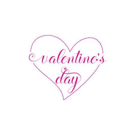 Fondo del día de San Valentín con patrón de corazón y tipografía de texto de feliz día de San Valentín. Ilustración vectorial. Papel tapiz, invitación, carteles, folletos, pancartas. color rosa