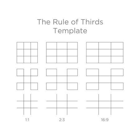 Conjunto de pautas de proporciones de composición, punto de atención de la plantilla de la regla de los tercios en cualquier pantalla de monitores de relación de aspecto Ilustración de vector