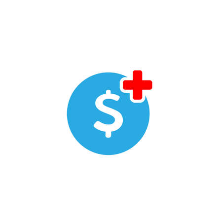 Emergency fund concept with first aid symbol and money icon. vector illustration