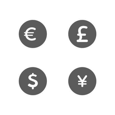 Money and currency icons set. Money Dollar, Euro, Yen, Pound, icon in trendy flat style design. Vector illustration