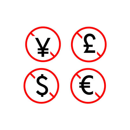 Free Of Charge icon with currency symbol. Vector illustration style is flat iconic symbol, black color, transparent background. Designed for web and software interfaces.