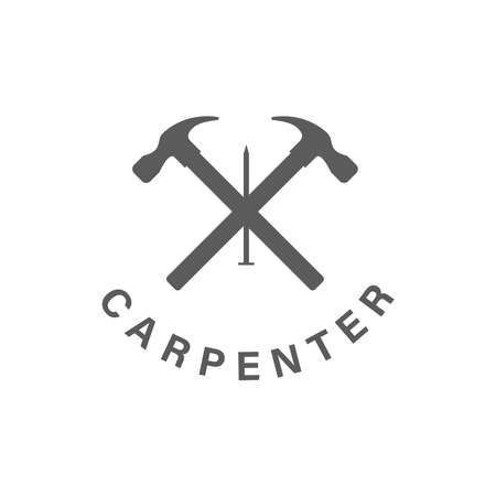 Logo design Concept about Carpenter - Fine Wood - Hand Made - Furnishing . Carpenter design element in vintage style for logo, label, badge, t-shirts. Carpentry retro vector illustration.  イラスト・ベクター素材