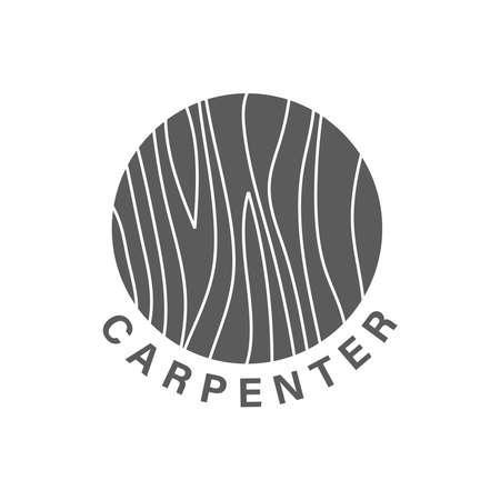 Logo design Concept about Falegname - Legno Pregiato - Fatto a Mano - Arredamento. Elemento di design carpentiere in stile vintage per logo, etichetta, badge, t-shirt. Illustrazione vettoriale retrò di carpenteria. Logo