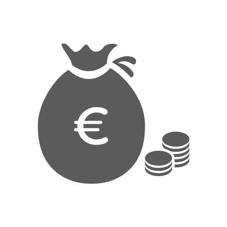 Money bag flat icon vector pictogram isolated, black and white sack with dollars, cartoon moneybag 向量圖像