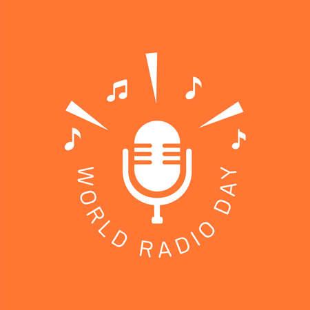 logo-ontwerp van Wereldradiodag voor poster, banner of elk ontwerp