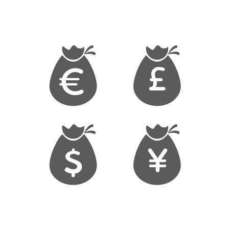 Sac d'argent icône plate vecteur pictogramme isolé, sac noir et blanc avec des dollars, sac d'argent de dessin animé