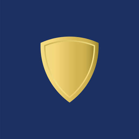 Gold Shield for logo design template in navy blue Background