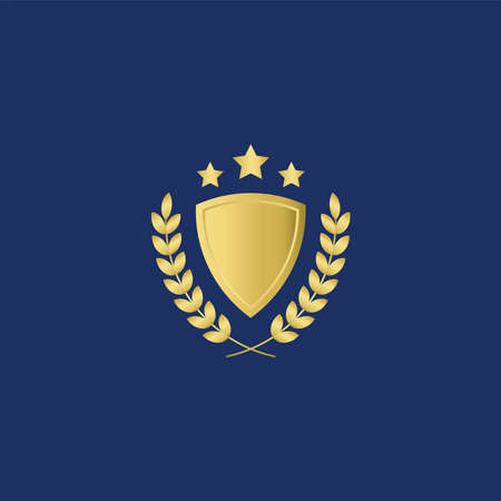 Elegance Luxury Gold Shield with laurel and stars for logo design template in navy blue Background