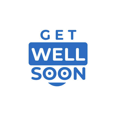 Get Well soon typography in blue color. vector illustration