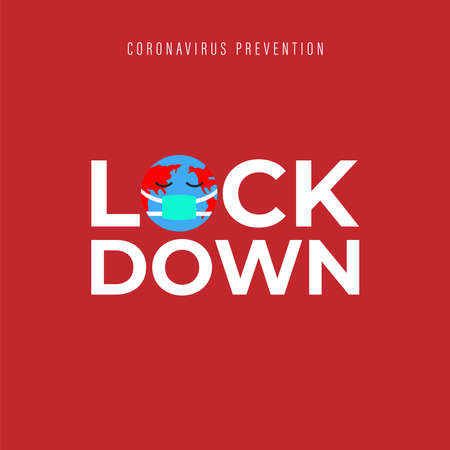 Lockdown text, infographics. Global pandemic health warning concept. novel coronavirus (2019-nCoV), covid-19, vector, symbol & Background. Lockdown emergency during a hazard.  イラスト・ベクター素材