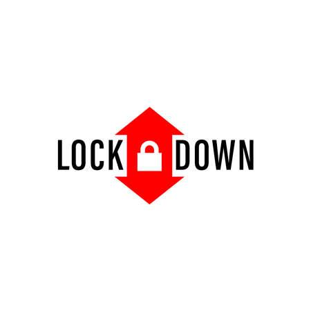 Lockdown text, infographics. Global pandemic health warning concept. novel coronavirus (2019-nCoV), covid-19, vector, symbol & Background. Lockdown logo, Lockdown emergency during a hazard.  イラスト・ベクター素材