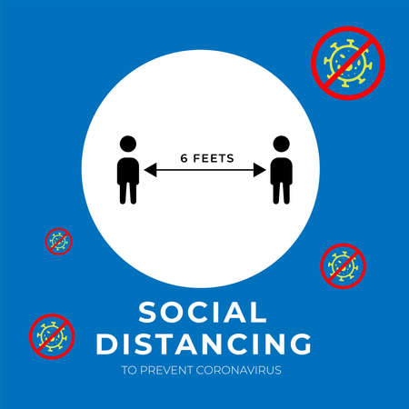 Social distancing, keep distance in public society people to protect from COVID-19 coronavirus outbreak spreading concept. Vector illustration