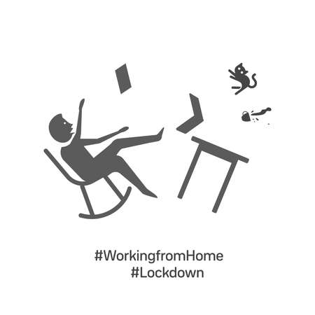 Coronavirus quarantine concept. Working from home. a worker sitting on couch and working on laptop. Flat cartoon vector illustration  イラスト・ベクター素材