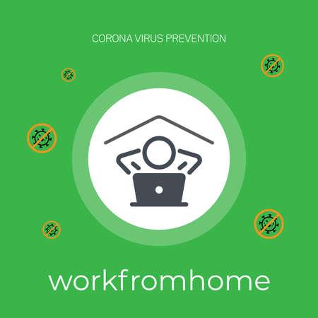 Corona virus quarantine concept. Working from home. corona virus prevention . vector illustration