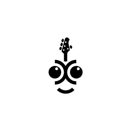 logo design about bass guitar player concept with bass illustration in vector