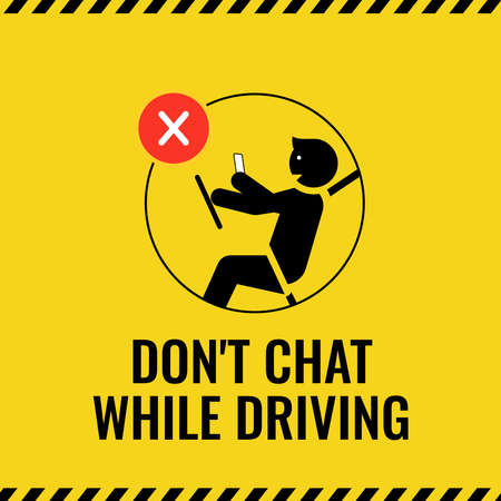 do not texting or chatting while driving sign vector