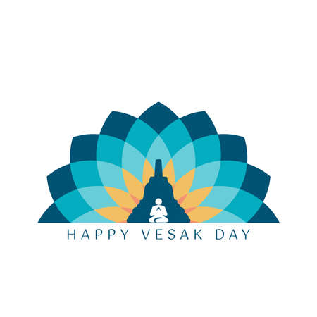 A Greeting Design About Happy Vesak Day or Buddha Purnima . Vesak is a holiday traditionally observed by Buddhists and some Hindus in South and Southeast Asia Ilustración de vector