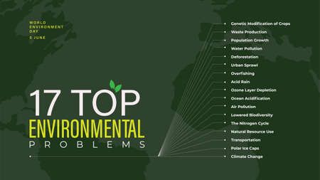 17 Top Environmental Problems Infographic illustration design Иллюстрация
