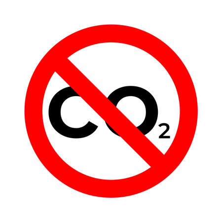 Stop CO2 emission reducing air pollution. CO2 typographic design. Vector illustration outline flat design style.  Vettoriali