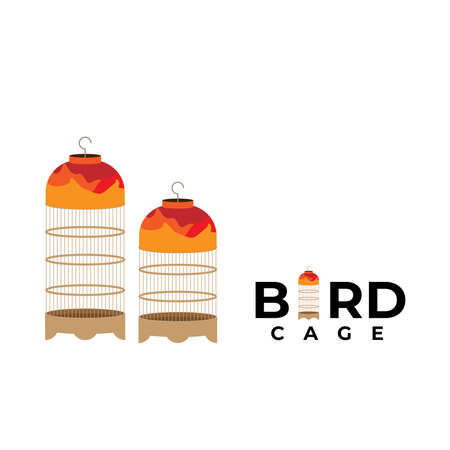 logo design with bird cage icon for pet shop or any business. vector file Illustration