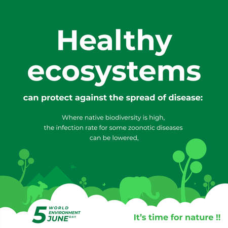 Healthy ecosystem poster for of celebrating the environment day with green color and flat illustration