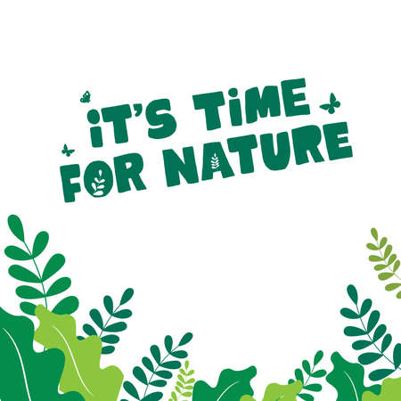 It;s time for nature - Design for celebrating world environment day  イラスト・ベクター素材