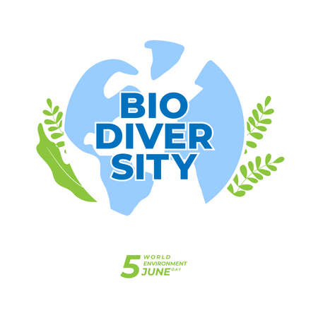 BIODIVERSITY typography design with green color for environment day event . june 5th 2020