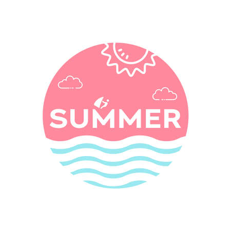 Typography about summer time with sun and water wave also palm tree. Welcome Summer Vector Illustration Design 向量圖像