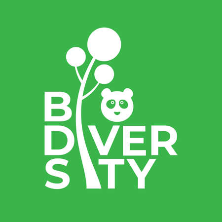 BIODIVERSITY poster design in square composition with green color for environment day event . june 5th 2020  イラスト・ベクター素材
