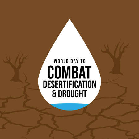 World Day to Combat Desertification and Drought banner with Desert texture background vector design.