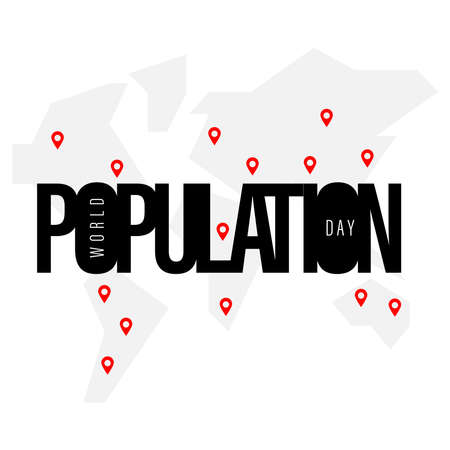 Design for World Population day Greeting-11 july. typography logo, Vector illustration, banner or poster Stock Illustratie