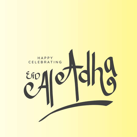 Happy celebrating Eid al adha with typography design in square composition