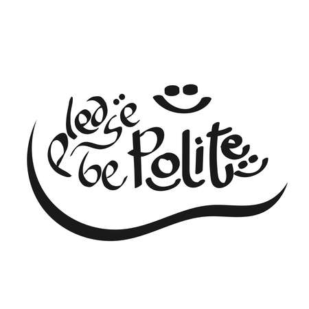 doodle text illustration about please be polite text concept in vector Illustration